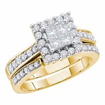 14k Yellow Gold Princess Diamond Halo Bridal Wedding Engagement Ring Set... - £729.60 GBP