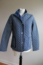 Talbots S Blue Stripe Solid Reversible Quilted Snap Front Jacket - $26.60