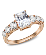 HCJ ROSE GOLD TONE STAINLESS STEEL RADIANT CUT 7 CZ ENGAGEMENT RING SIZE... - $13.94