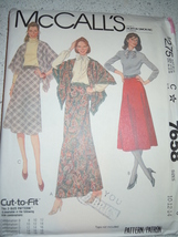 McCall's Misses Size 10-14 Skirt & Shawl Pattern #7658 Uncut - $4.99
