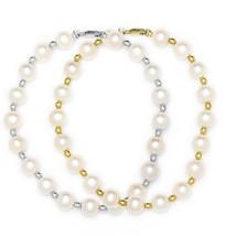 7mm Women/Childrens Stylish 14K Gold White Freshwater Pearl Beaded Bracelet New - $89.98