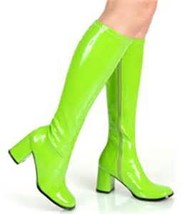 pb078 Extra large coloful knee-high boots, pu leather,size 34-46, green - $88.80