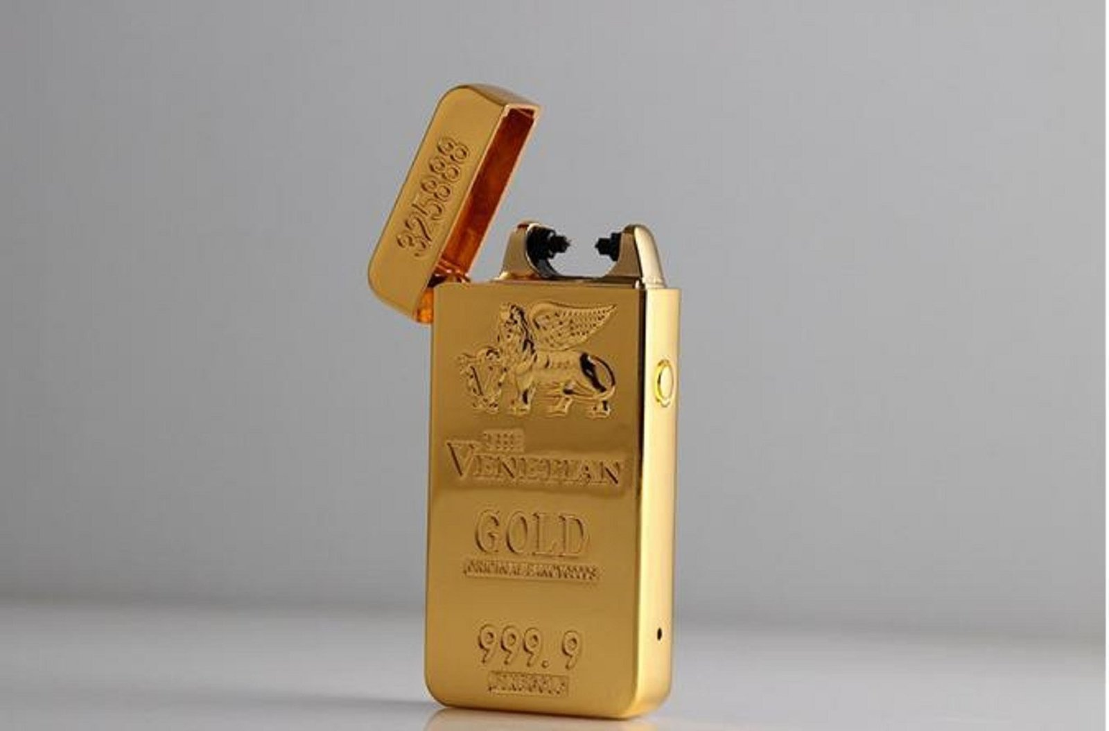 Gold Lion Creative Windproof USB Charging Pulse Arc Metal Electronic Cigarett...
