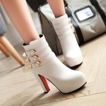 pb080 Extra large candy color gold buckles booties,size 34-43, white - $88.80