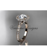 14kt rose gold diamond wedding ring, engagement ring, Moissanite VD10074 - $2,875.00