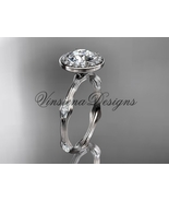 "platinum leaf and vine engagement ring, ""Forever One"" Moissanite VD10075 - $2,845.00"