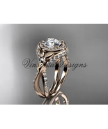 14k rose gold leaf and vine, flower engagement ring  Moissanite VD10065 - $2,600.00