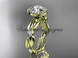 """14k yellow gold leaf and vine engagement ring, """"Forever One"""" Moissanite VD10076  - $2,350.00"""