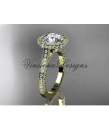 14kt yellow gold diamond wedding ring, engagement ring,  Moissanite VD10074 - $2,875.00