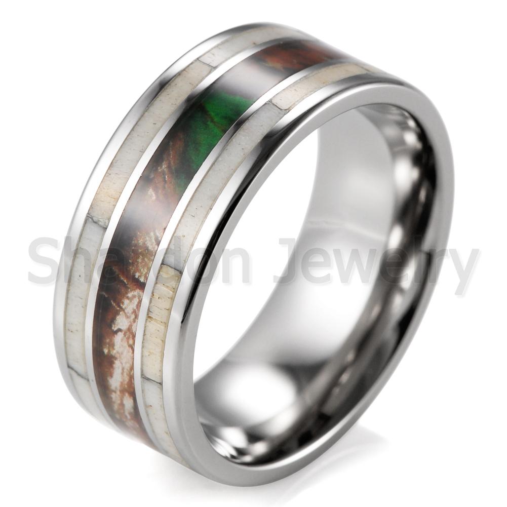 9mm mens wedding ring titanium camo with antler ring
