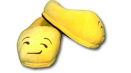 Smirking Unisex Emoji Plush Home Indoor Pair Slippers Soft Comfy Shoes - $8.99