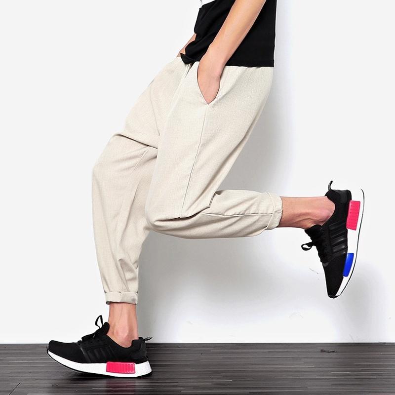 2018 New Summers Linen Pants Men Casual Ankle-Length Harem Pants Solid Linen Cot image 2