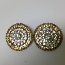 Vintage, Rare, Star 1950s Gold Tone, Paved Rhinestone Clip Earrings - $6.60