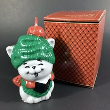 """Vintage New 1981 Avon Carolling Trio Grey Crooning Cat Candle Christmas 3 5/8"""" - $4.95"""
