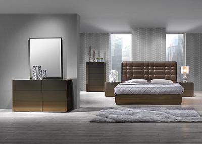 J&M Ferrara Platform Bed Set 5pcs Queen Modern Contemporary Chic