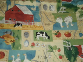 New England States Country Fabric Map Farm Apples Ducks Red Barn Cows  4... - $18.00