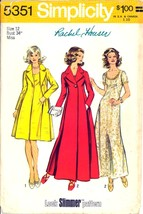 1970s Size 12 Bust 34 Evening Dress Gown Coat Simplicity 5351 Pattern Maxi - $18.99