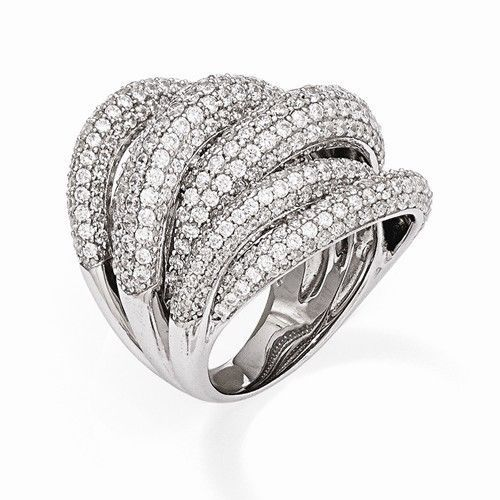 UNIQUE MODERN DESIGN STERLING SILVER WITH CZ CONTEMPORARY RING -SIZE 6