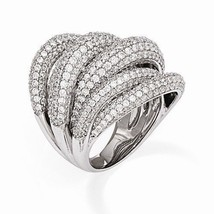 UNIQUE MODERN DESIGN STERLING SILVER WITH CZ CONTEMPORARY RING -SIZE 6 - $188.10
