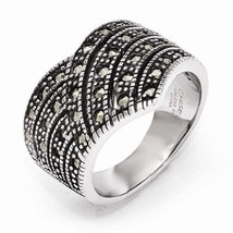 CHISEL BRAND STAINLESS STEEL POLISHIED AND ANTIQUED MARCASITE RING - SIZE 6 - $39.60