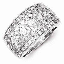 BEAUTIFUL STERLING SILVER VINTAGE STYLE FILIGREE CZ RING / BAND  - SIZE 8 - $51.39