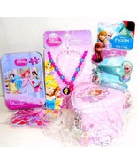 Disney Princess 5 pc Gift Set Necklace Bracelets Hair Clips Puzzle Tin H... - $7.95