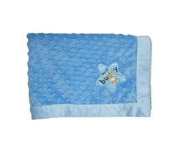 OKIE DOKIE Blue My Lil Buddy MONKEY Raised Minky Dot Satin Baby Blanket ... - $28.06