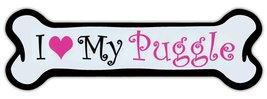 Crazy Sticker Guy Pink Dog Bone Shaped Magnet - I Love My Puggle (Pug Beagle) -  - $6.99