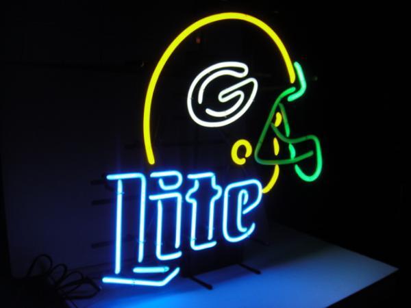 "Miller Lite NFL Green Bay Packers Football Helmet Neon Sign 18"" x 13"""