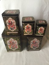 Rare Set 5 Square Nesting Tins Flowers Birds Bl... - $42.08