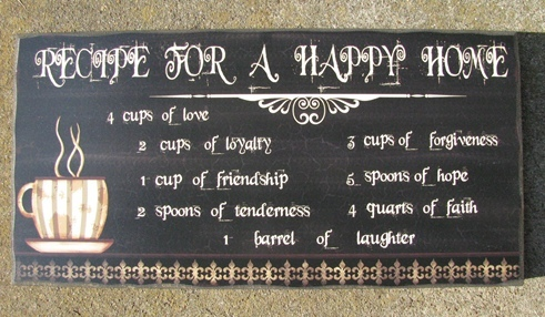 45372RC - Recipe Happy Home Wood Sign