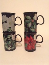 Set of 4 Dunoon Caroline Bessey Flowers Fine White Stoneware Coffee Cup Mug - $35.52