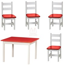 4 Chairs & Table 5pc Play Set   Red & White Amish Handmade Wood Toy Furniture - $475.17