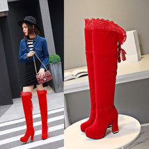 pb082 Extra small/large over knee boots, velvet,size 30-43, red - $88.80