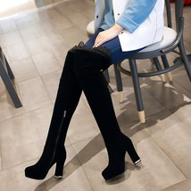 pb082 Extra small/large over knee boots, velvet,size 30-43, black - $88.80