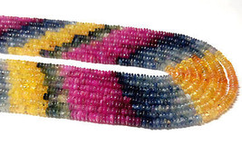 "fine AAA+ natural multi sapphire 3-4mm rondelle smooth loose beads 16"" s... - $46.65"