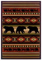 """5x8 (5'3"""" x 7'6"""") Lodge Cabin Rustic Bear Green... - $199.00"""