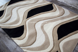 5x8 Designer Modern Contemporary Carved Plush Waves Wool Ivory Black Area Rug - €305,20 EUR