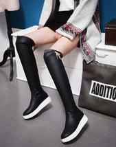 pb083 Stretchable knn-high wedge boots w fringe,size 34-43, black - $78.80