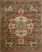 """9x12 (8'3"""" x 11'6"""" ) Nourison Jaipur JA-36 Rust Red Traditional Wool Are... - $1,559.00"""