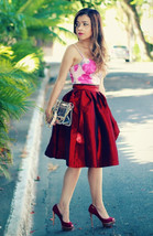 Women Pink Full Pleated Party Skirt A Line High Waist Knee Length Taffeta Skirt  image 5