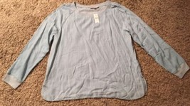 NWT Women's Loft 100% Kyocera Blue LS Shirt, Size XL - $34.99