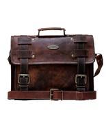 Vintage Unisex Leather Messenger Laptop Briefcase Satchel Brown Bag Hand... - $64.72+