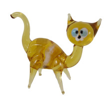 Cat Glass Figurine  Art Glass Murano Style Hand Blown Lampwork 3 Inch Lo... - $13.95
