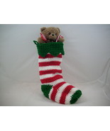 Stripped Christmas stocking with bear - $18.00