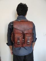 Vintage Men's Leather Backpack Bags Shoulder Briefcase Rucksack Brown Laptop Bag - $60.79