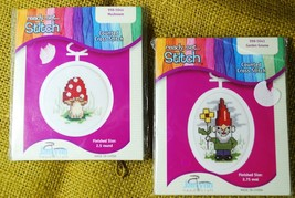 *2* Ready Set Stitch Counted Cross Stitch Kits - Garden Gnome & Mushroom - $24.74