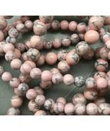 8mm Pink Howlite Round Beads, 1 15in Strand, peach - $5.00