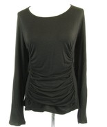 COOGI Size 2X Black Gathered Knit Fitted Stretch Logo Top - $10.99