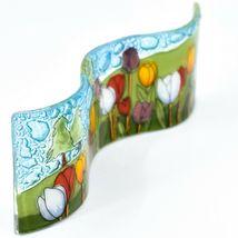 Fused Art Glass Tulips Flower Field Wavy Decor Sun Catcher Handmade in Ecuador image 5
